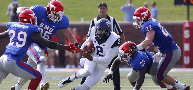 The SMU defense looks to do a better job corraling TCU quarterback Trevone Boykin on Saturday Tim Heitman-USA TODAY Sports