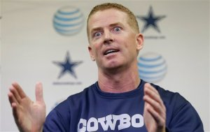 Dallas Cowboys head coach Jason Garrett speaks to reporters during an NFL football media availability at Valley Ranch Wednesday, Feb. 13, 2013, in Irving, Texas. (AP Photo/LM Otero)
